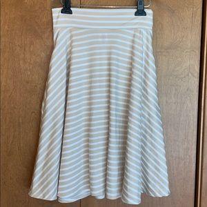 NWOT Agnes & Dora tan/white midi skirt - size M